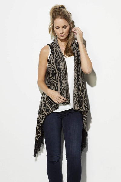 Black and Taupe Print Fringe Vest