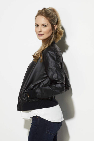 BB Dakota - Faux Leather Bomber Jacket - side