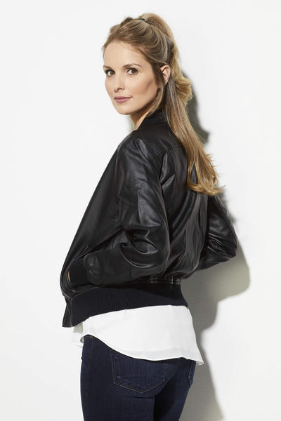 BB Dakota - Faux Leather Bomber Jacket - side, rear