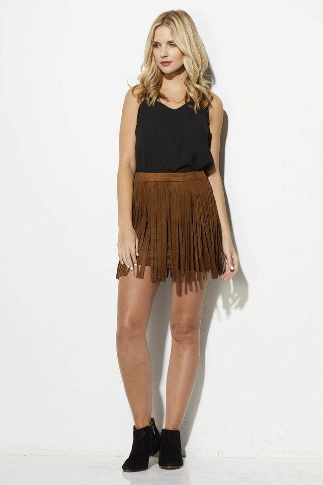 Faux Suede Fringe Skirt - Antelope