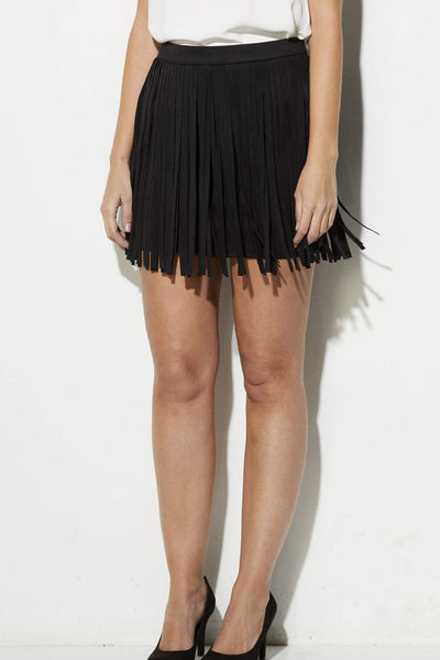 BB Dakota - Faux Suede Fringe Skirt- Black - front