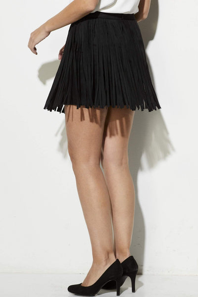 BB Dakota - Faux Suede Fringe Skirt- Black - side