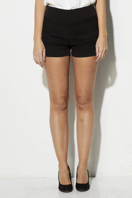 Endless Rose - Black Lace Detail Shorts - front