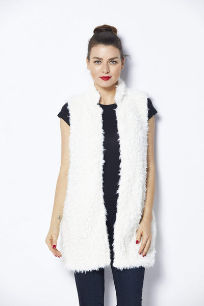 Bishop + Young Ivory Fur Vest - Front