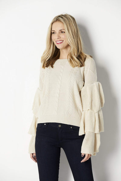 Elan Tiered Long Sleeve Sweater - Front