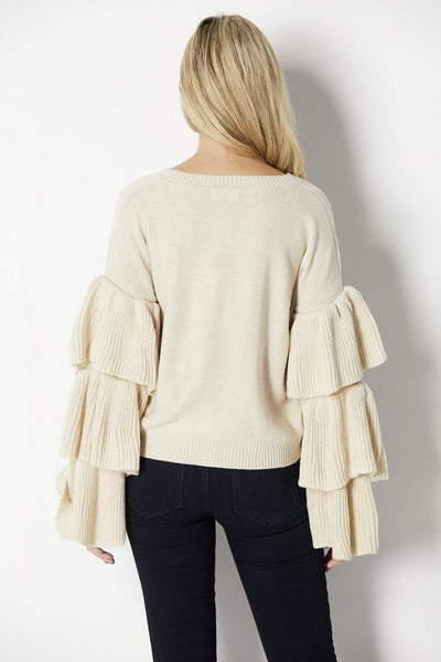 Elan Tiered Long Sleeve Sweater - Back