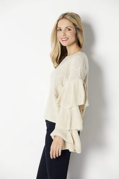 Elan Tiered Long Sleeve Sweater - Side