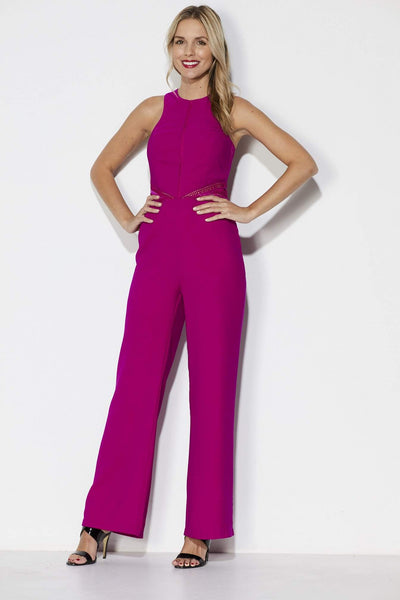 Adelyn Rae Fuchsia Wide Leg Jumpsuit Front View