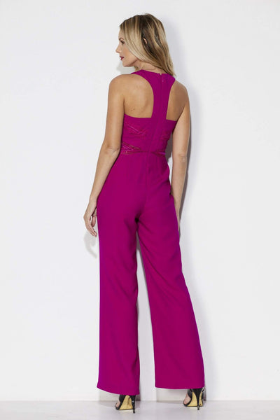Adelyn Rae Fuchsia Wide Leg Jumpsuit Rear View