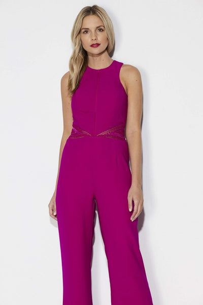 Adelyn Rae Fuchsia Wide Leg Jumpsuit Close Up