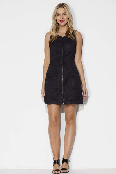 Black Faux Suede Zipper Dress - Front