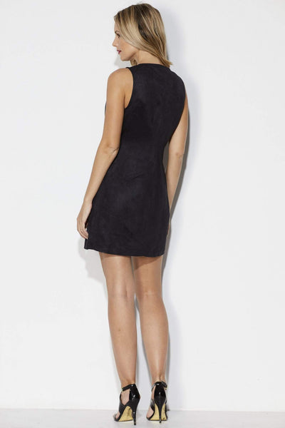 Black Faux Suede Zipper Dress - Back