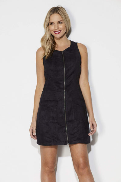 Black Faux Suede Zipper Dress