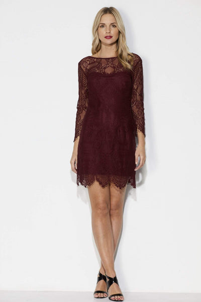 Wine Lace Fitted Dress _ Front