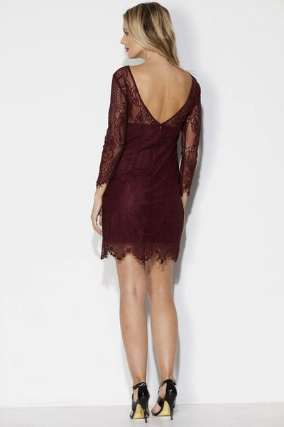 Wine Lace Fitted Dress - Back