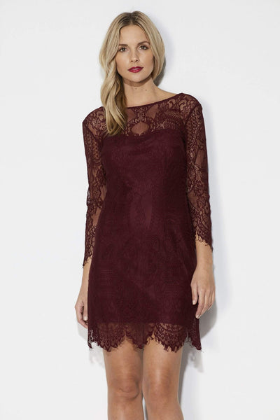 Wine Lace Fitted Dress - Front