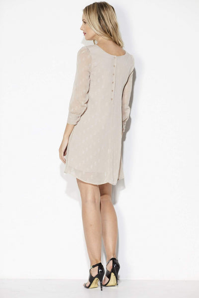 Champagne Long Sleeve Dot Dress - Back