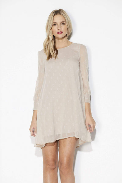 Champagne Long Sleeve Dot Dress - Front