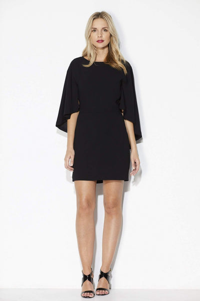 Cupcakes & Cashmere - Black Fitted Cape Dress - Front