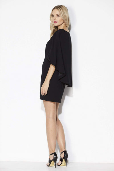 Cupcakes & Cashmere - Black Fitted Cape Dress - Back