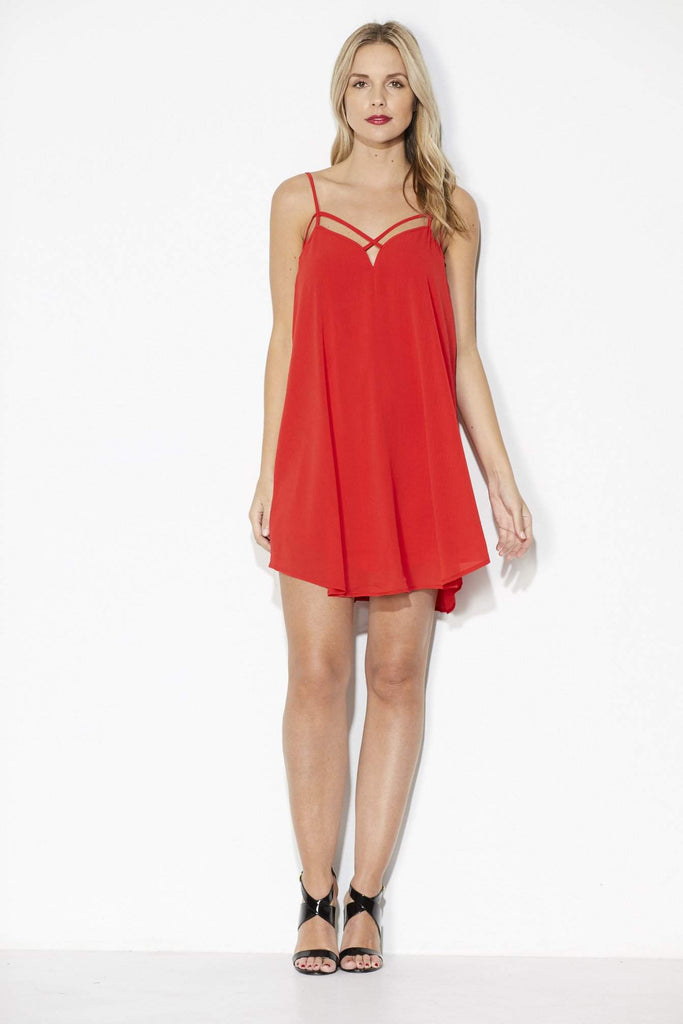 Red Strappy Slip Dress - Front