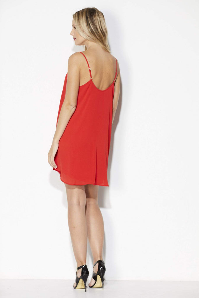Red Strappy Slip Dress - Back