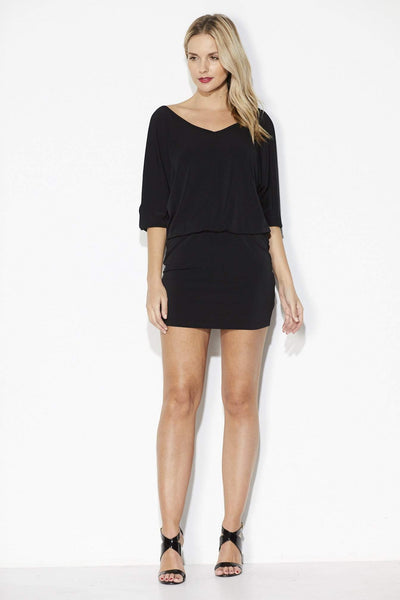 Black Dolman Sleeve Dress - Front