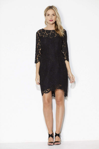 Black Lace Overlay Dress - Front