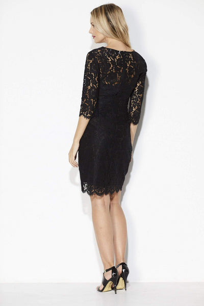 Black Lace Overlay Dress - Back