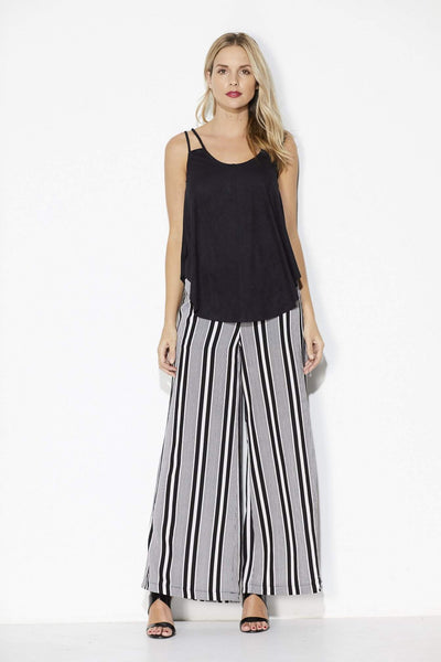 Bishop + Young - Stripe Wide Leg Pant - Front