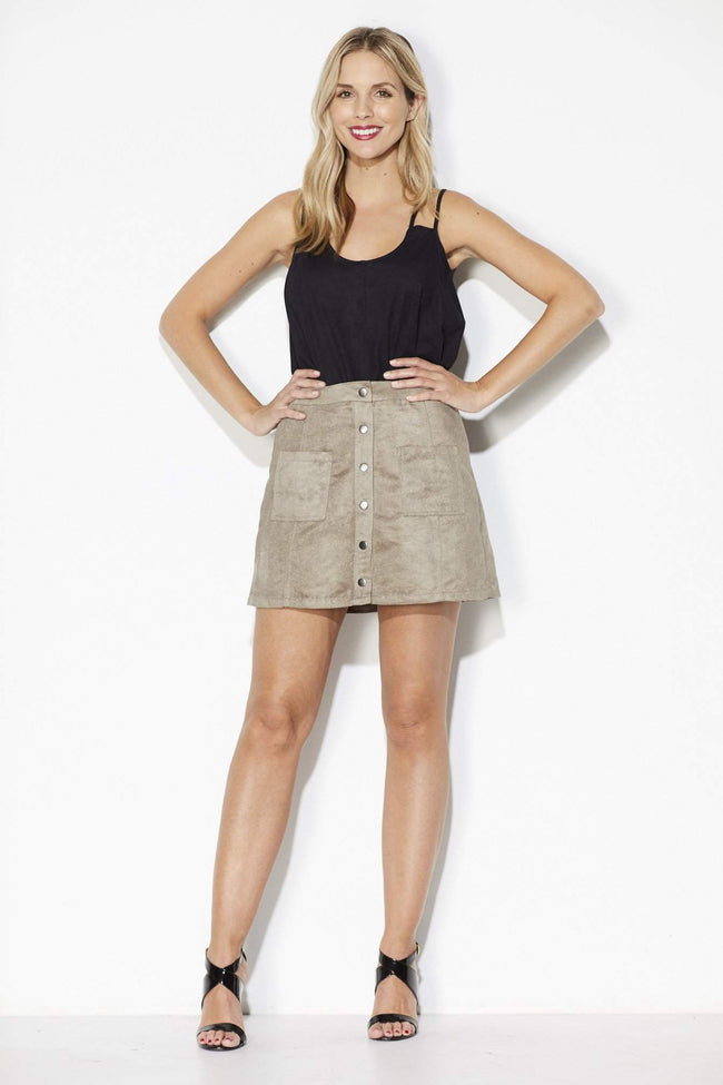 Jack - Fawn Button Mini Skirt - Front