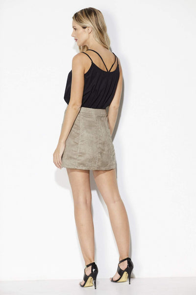 Jack - Fawn Button Mini Skirt - Back