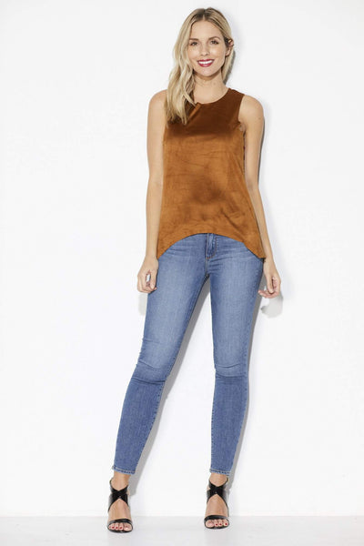 Bishop + Young -Camel Faux Suede Top - Front