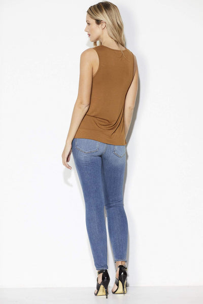Bishop + Young -Camel Faux Suede Top - Back