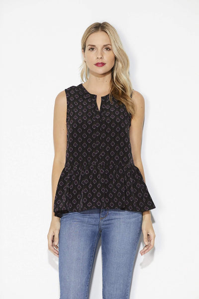 Cupcakes & Cashmere - Medallion Peplum Top - Front