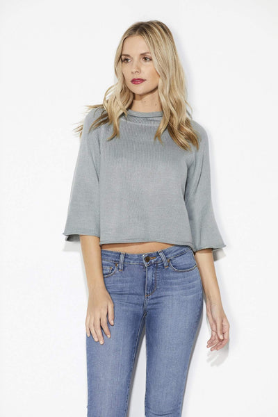 Jack - Smoke Grey Cropped Sweater - Front