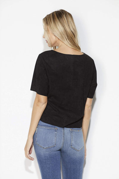Cupcakes & Cashmere - Black Faux Suede Top - Back