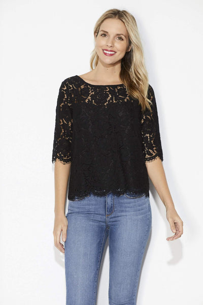 Cupcakes & Cashmere - Black Lace 3/4 Sleeve Top - Front
