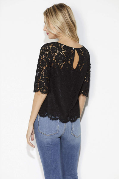 Cupcakes & Cashmere - Black Lace 3/4 Sleeve Top - Back