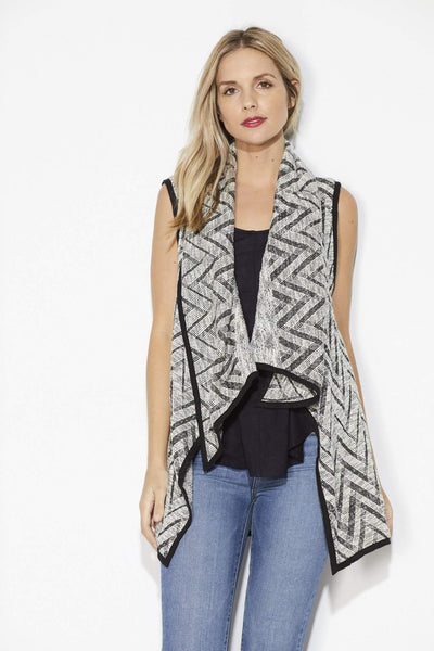 On the Road -Black Chevron Sweater Vest - Front