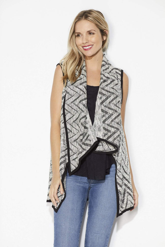 On the Road - Black Chevron Sweater Vest - Front