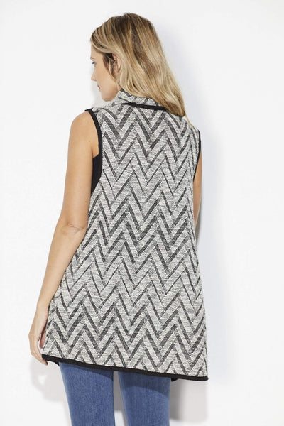 On the Road -Black Chevron Sweater Vest - Back
