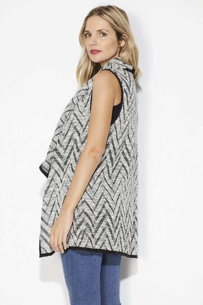 On the Road - Black Chevron Sweater Vest - Back