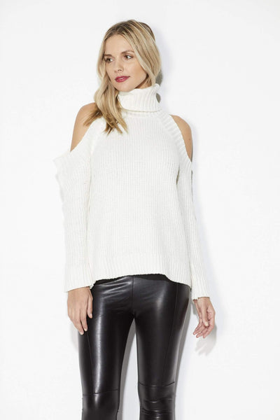 J.O.A. - Ivory Cold Shoulder Sweater - Front