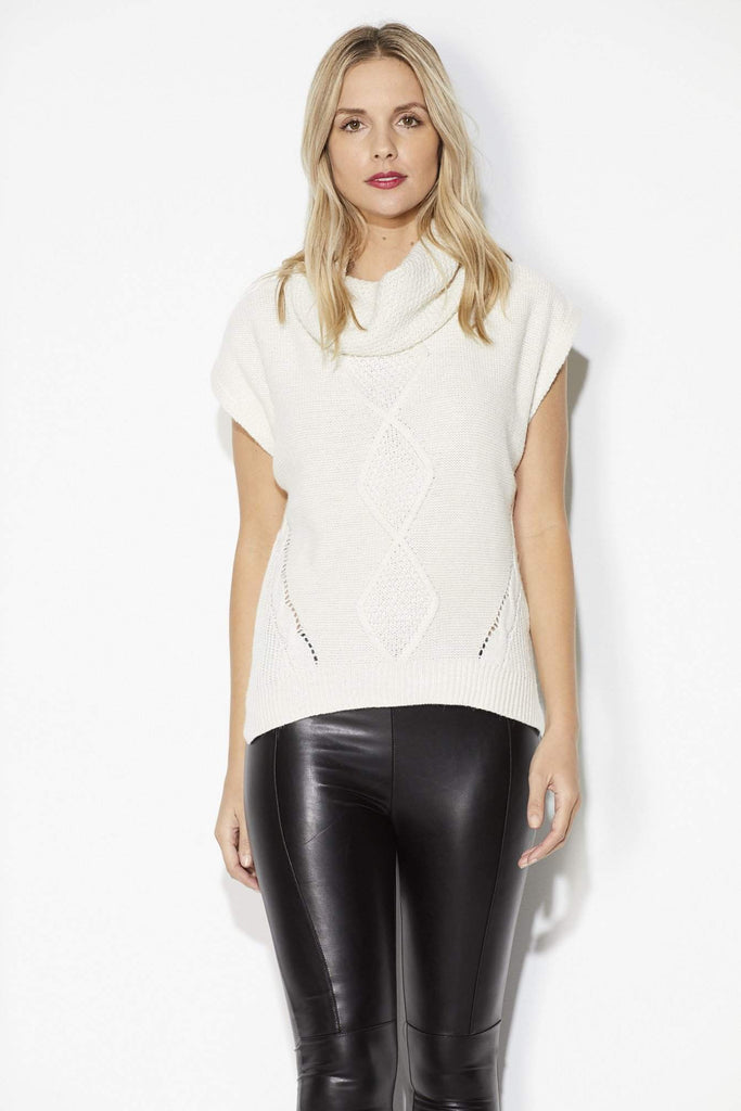 Bishop + Young - Ivory Cowl Neck Sweater = Front