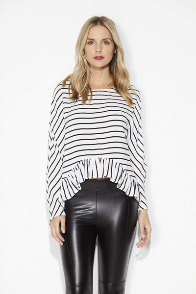 Bishop + Young - Stripe Peplum Top - Front