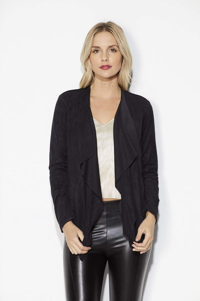 Olive + Oak = Black Faux Suede Draped Lapel Jacket = Front