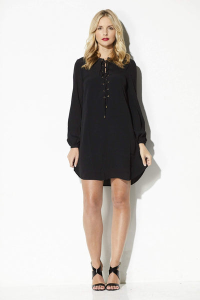 Black Swan - Black Long Sleeve Lace Up Dress - front
