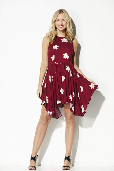 Olive + Oak - Deep Wine Floral Asymmetrical Dress - front