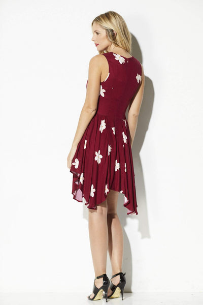 Olive + Oak - Deep Wine Floral Asymmetrical Dress - rear